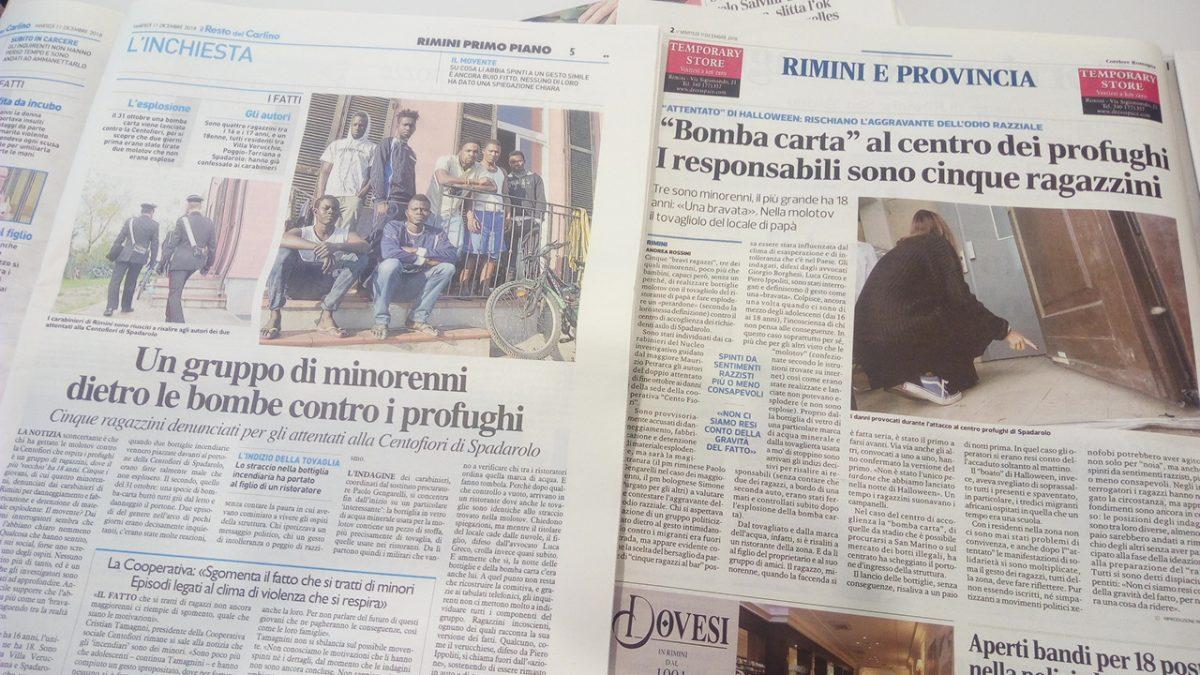 Cooperativa Sociale Cento Fiori rassegna stampa identificazione autori bomba carta