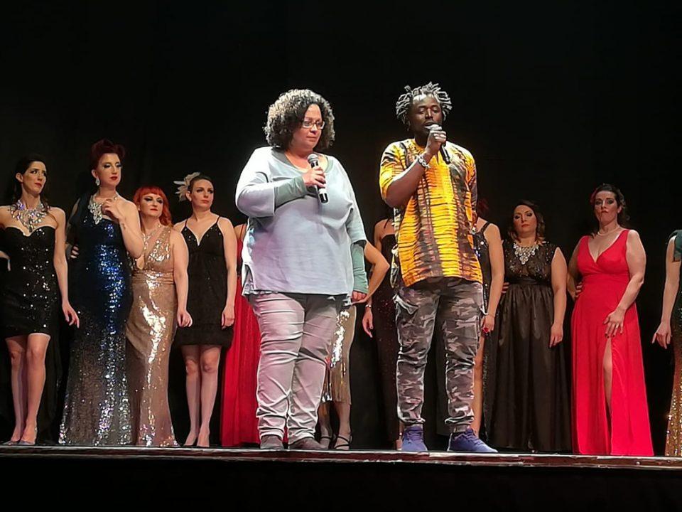 Federica Soglia ed Ebrima Camara, della Cento Fiori, ringraziano le partecipanti e gli organizzatori del Freaky Candy Burlesque Expo 2019 al Teatro degli Atti di Rimini
