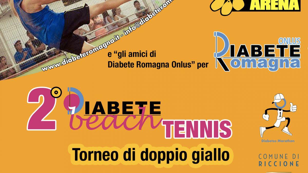 Locandina del Diabete Beach Tennis, seconda edizione del doppio benefico a favore di Diabete Romagna Onlus