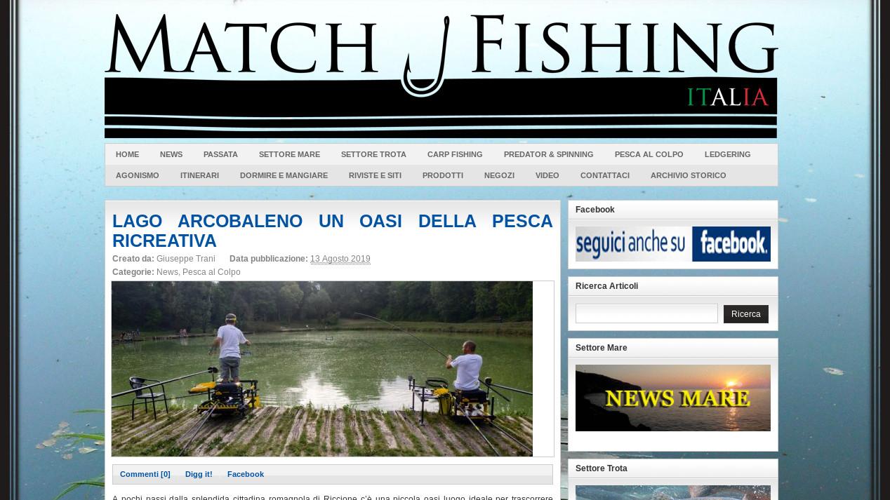 Testata e articolo della rivista on line Match Fishing Italia