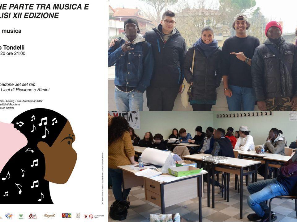 Locandina e persone impegnate nello spettacolo poesia azione e musica