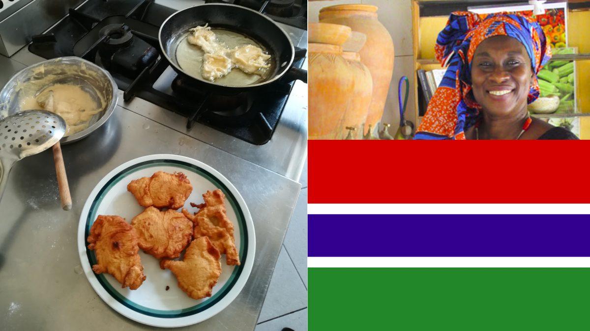 Preparazione del Begne', donna e bandiera del Gambia