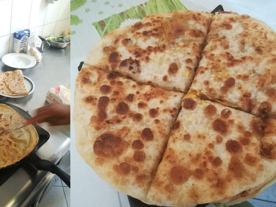 Immagine della preparazione del Chapati, pane pakistano salato o, se dolce, Parata