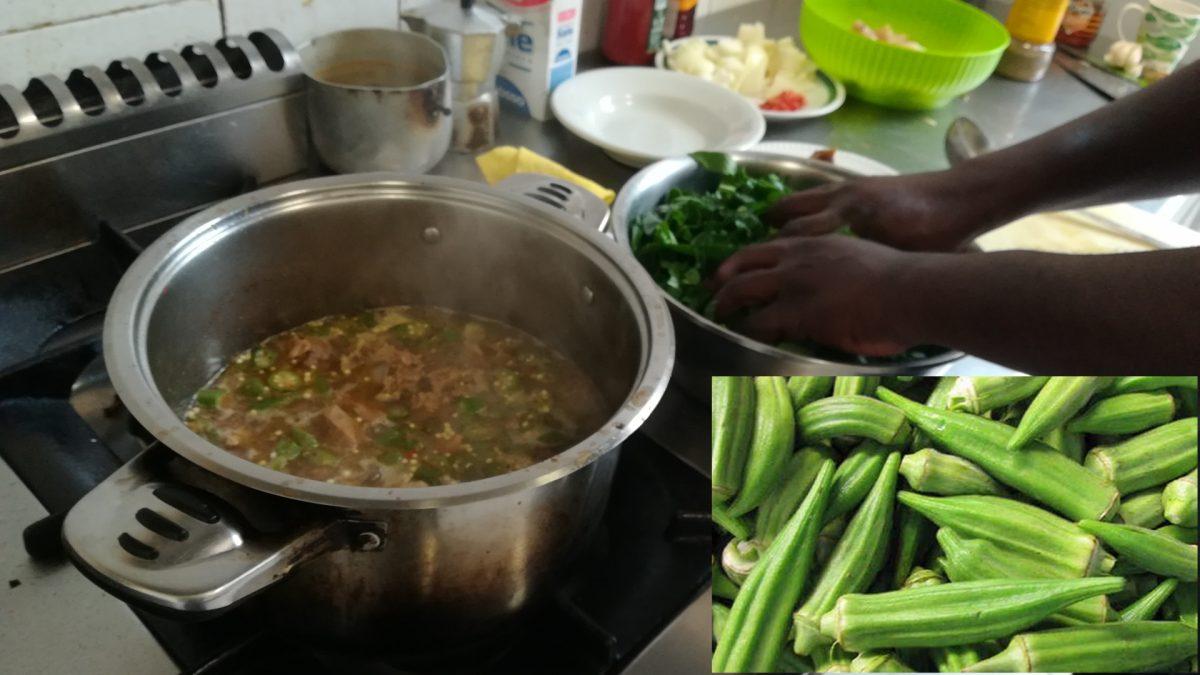 Okra soup in cottura