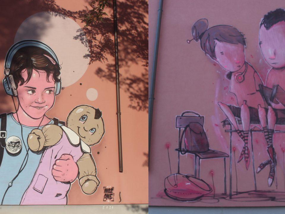 I graffiti di Mozone (a sinistra) e di Burla sui muri del Centro di Accoglienza Straordinario per Migranti di Spadarolo della Cooperativa Sociale Cento Fiori di Rimini.