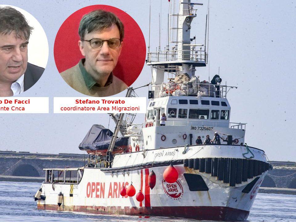 Riccardo De Facci e Stefano Trovato della Cnca con la nave Open Arms