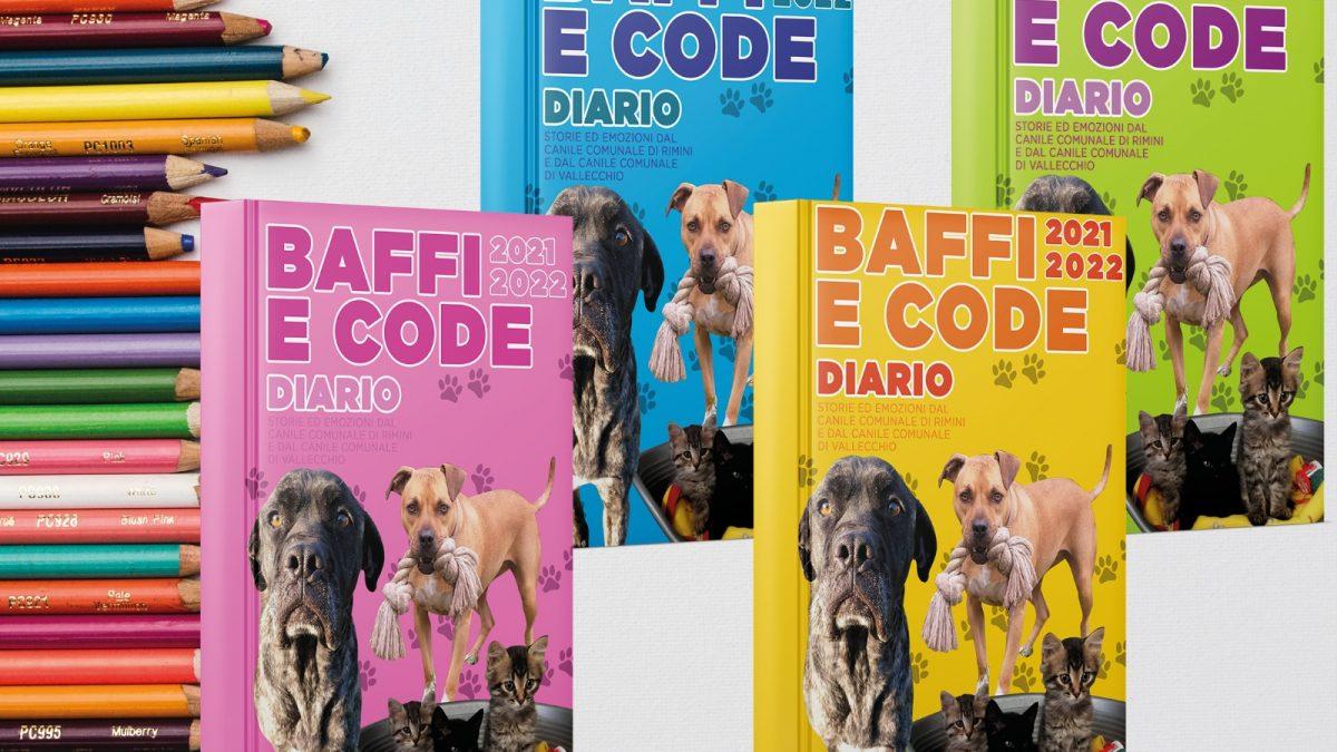 Le copertine di Baffi e code, i diari scolastici con cani e gatti dei canili di Rimini e Vallecchio